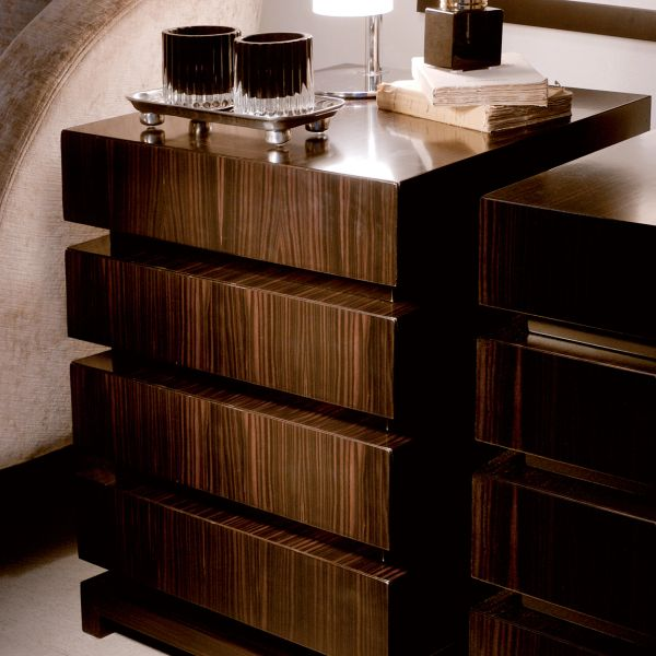 FOUR DRAWER CHEST WITH GLOSSY MAKASSAR EBONY VENEER Handmade in Italy