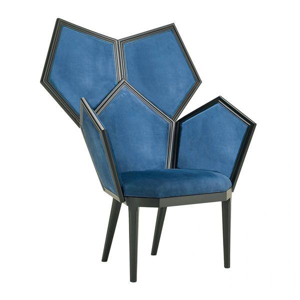 Armchair Matte Black Frame Blue Nubuck Upholstery Handmade in Italy