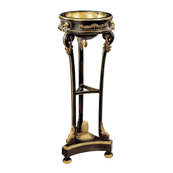 Regency Style Wood Carved Plant Stand Antiqued Black Finish Made in Italy