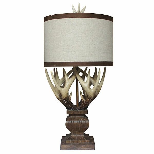 Antler Table Lamp Linen Shade