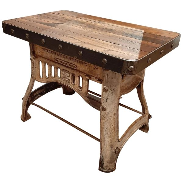 Industrial Antique Oak Workbench Side Table New