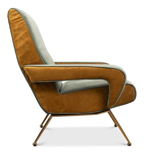 Olive Velvet Lounge Chair Gold Finish Danish