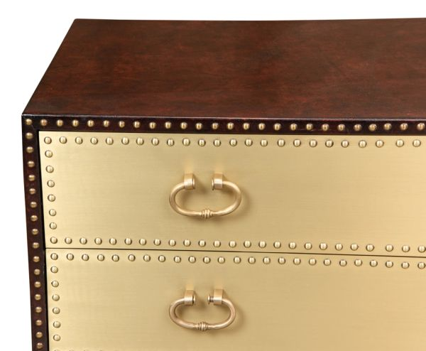 Chest 2 Drawer Wood Brass and Leather