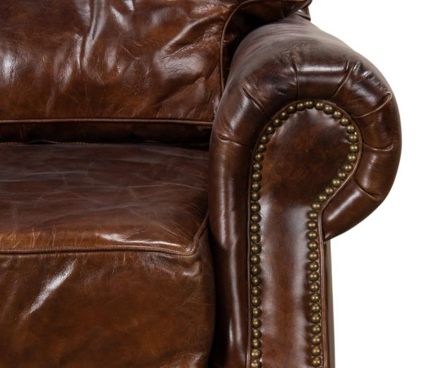 Vintage Cigar Leather Brown Chair New