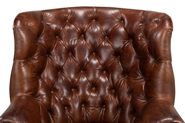Wales Vintage Cigar Tufted Leather Chair