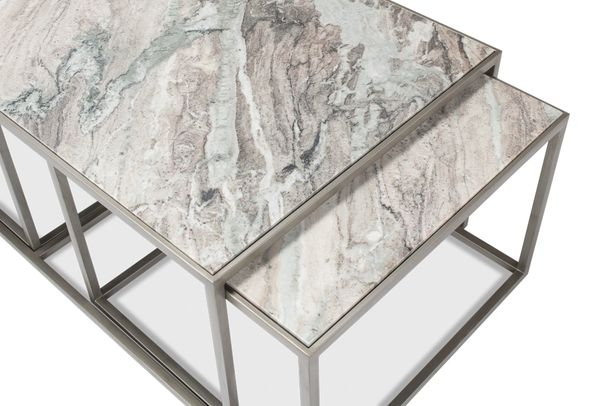 Set of 3 Nesting Tables Marble Top Silver Contemporary