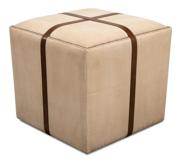 Strap Canvas and Leather Stool Ottoman Seat