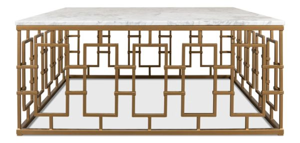 Brass and Marble Cocktail Coffee Table Iron Gold Finish