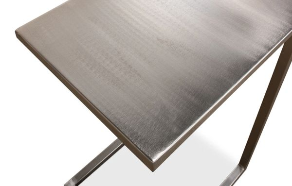 Metal Laptop Table Grey Contemporary Pewter Finish