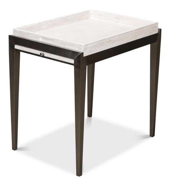 Contemporary Whitewash Side Table Metal and Wood