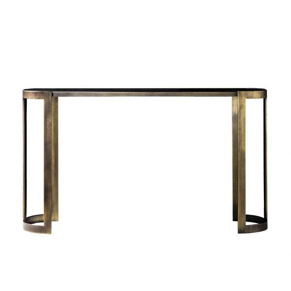 Oval Metal Console Dark Satin Brass Black Glass Top