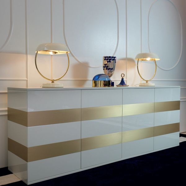 Four Door Credenza High Gloss White Handmade in Italy