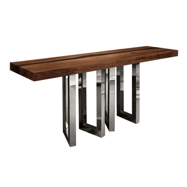Walnut Top Console Metal Base Handmade in Italy