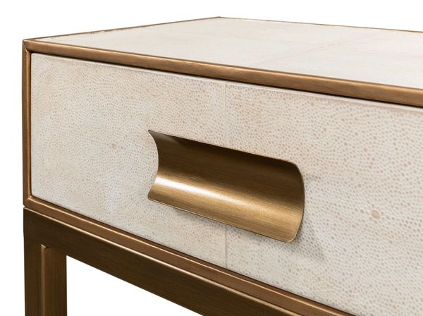 Shagreen Console Table Osprey White Brass Hardware Leather Trim