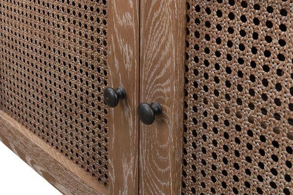 Credenza Oak White Wash Finish Rattan Detail