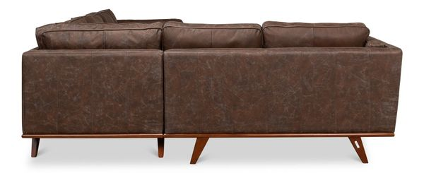 Maple Antique Brown Leather Sectional Sofa