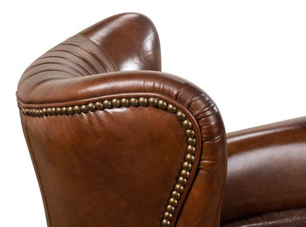 Swivel Armchair Vintage Cigar Leather Nailhead Detail