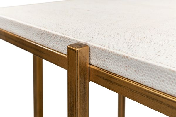 Shagreen Side Table Osprey White Gold Finish