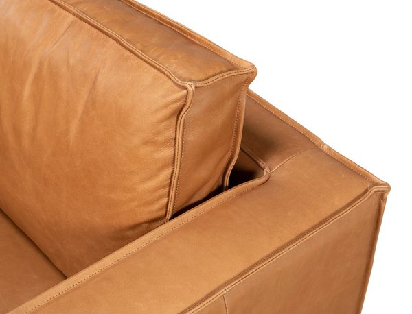 Light Brown Leather Lounge Chair Iron Frame
