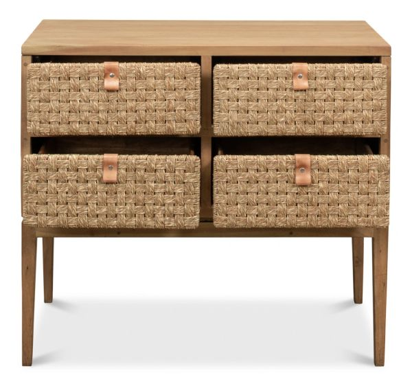 Woven Front Chest of Drawers Driftwood Finish