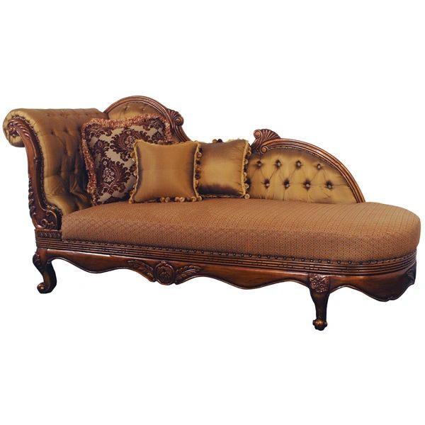 Italian Chaise Lounge Chair Mahogany Finish