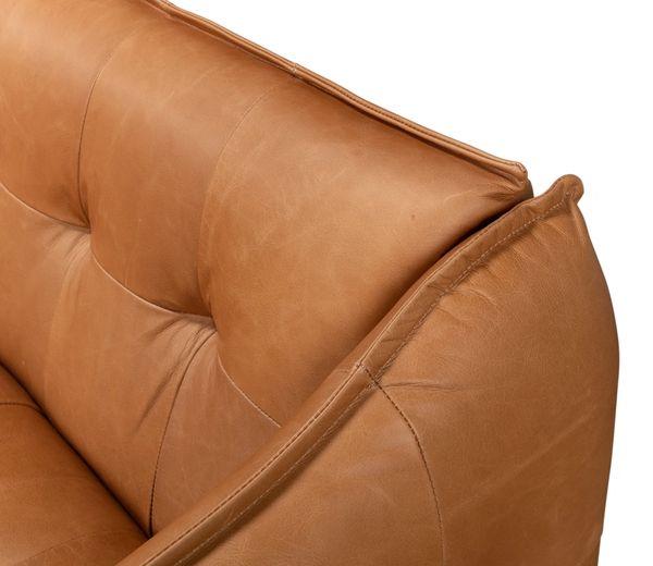 Leather Sofa Light Brown Whitewash Oak Legs Traditional Tufting