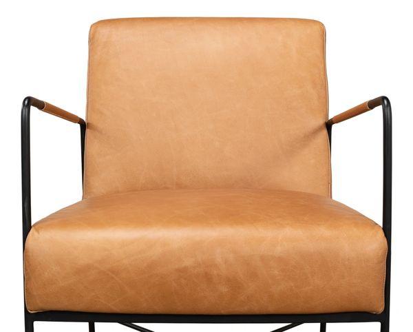 Light Brown Leather Armchair Iron Frame Mid Century Modern