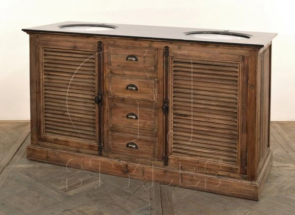 Double Vanity Cabinet Louvered w/ Marble Top