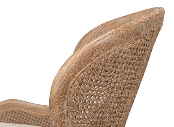Oak Whitewash Finish Linen Wing Chair Cane Detail