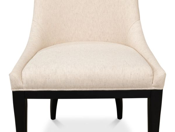 Dining Chair Maple Legs Finished in Black Cream Linen