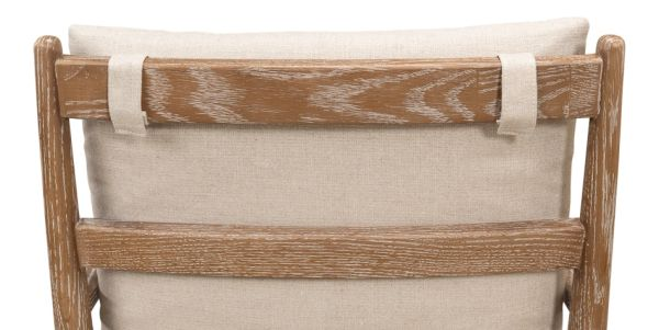 Oak Whitewash Finish Arm Chair Natural Linen Fabric