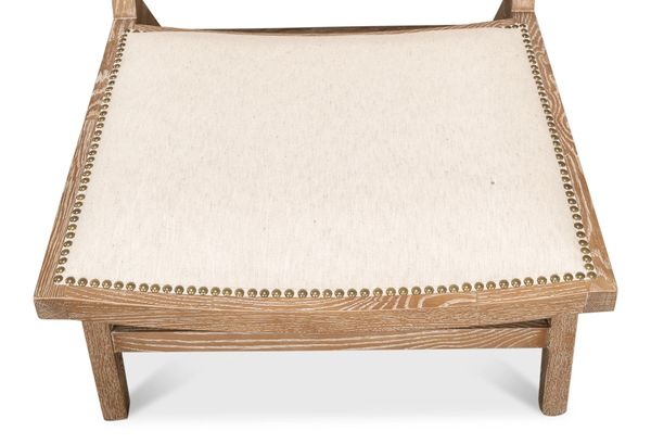 Oak Whitewash Finish Natural Linen Fabric Cane Back