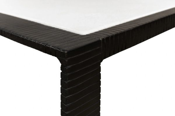 Riged Iron Sidetables Set of Two Black Finish Marble Top