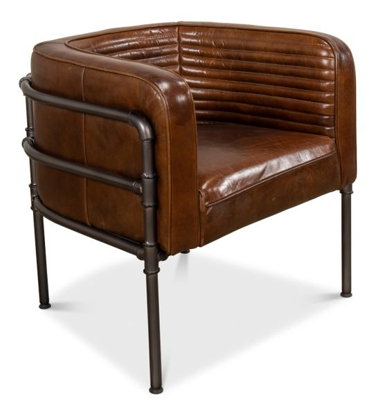 Leather Top Grain Vintage Cigar Arm Chair Metal Frame