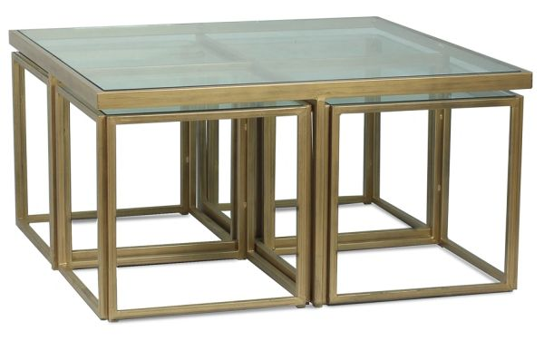 Brass and Glass Coffee Table Square x 4