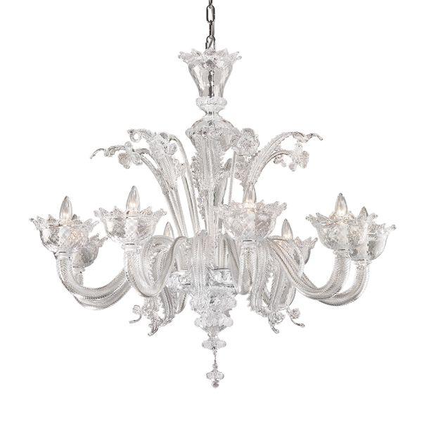 Chandelier 8 Light Handblown Murano Italy Handmade Clear Venetian Glass