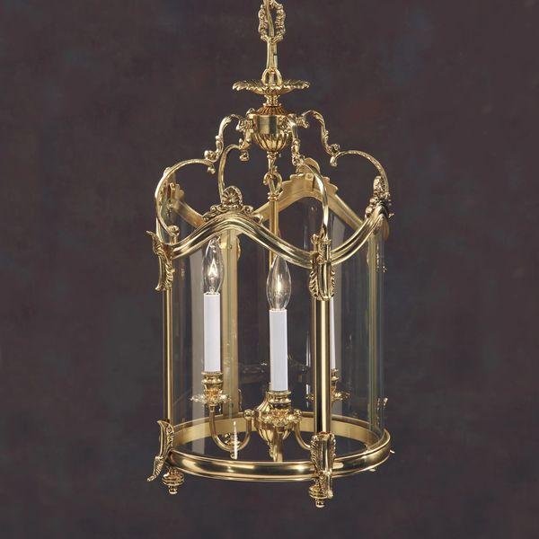 Solid Cast Brass Lantern Foyer Light Handmade in Italy