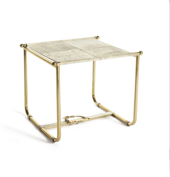 Polished Brass Stool with Natural Hide Seat