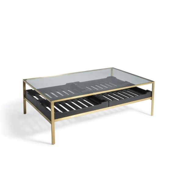 Champagne and Black Brushed Coffee Table Storage Tempered Glass