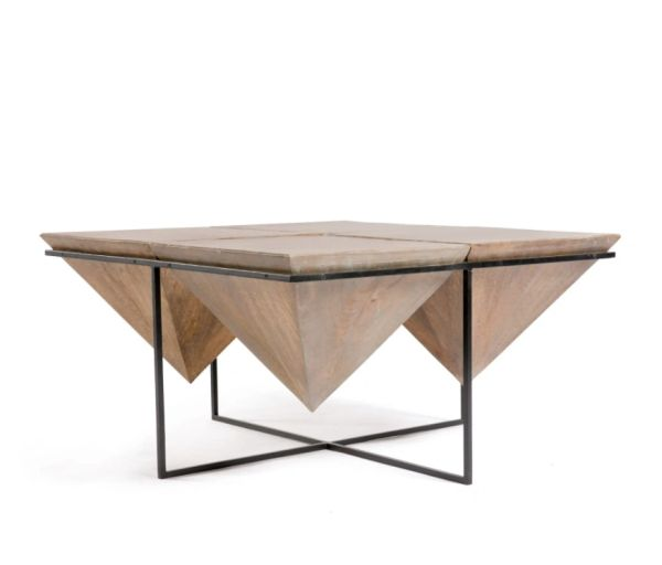 Coffee Table Black Iron and Gray Wash Mango Wood