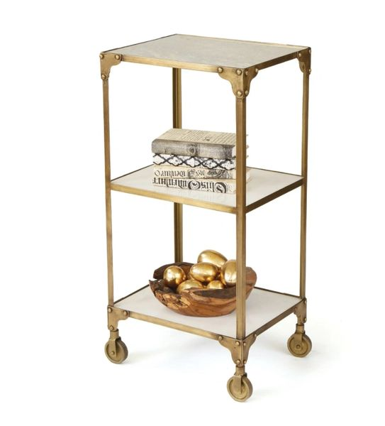 Antiqued Brushed Brass Sidetable with Wheels