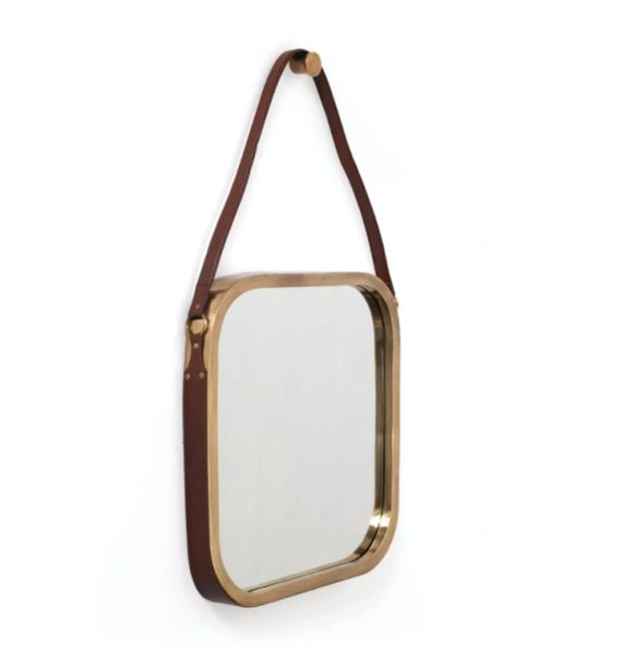 Brass Cigar Leather Mirror Transitional Cool