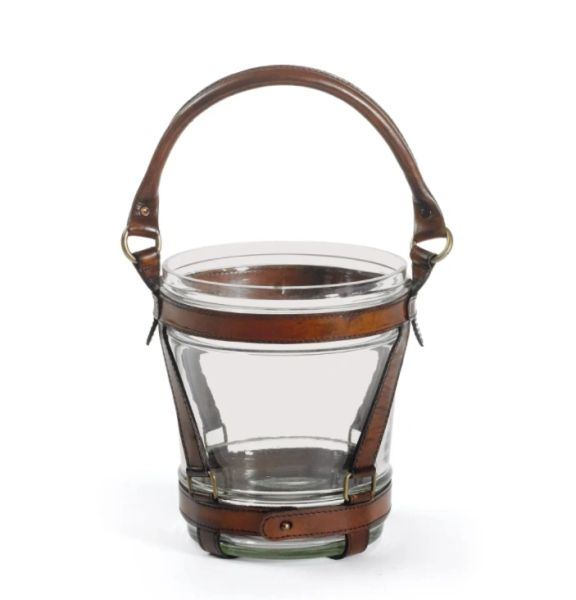 Equestrian Brown Leather Wine Cooler Leather Glass