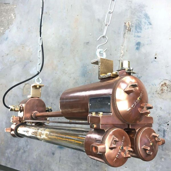 Industrial Strip Light Copper Brass Flame Proof Fluorescent LED Tube Lamp Edison Steam Punk Refinished