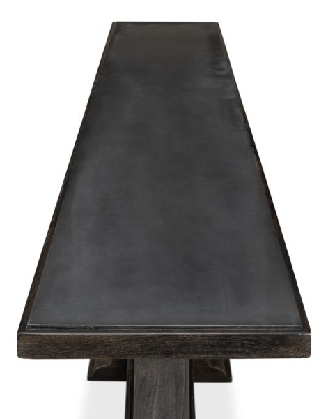Console Serving Piece Iron Top Moleskin Finish Wood