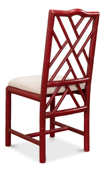 Red Handcarved Birch with Bamboo Motif Side Chair Set of 2