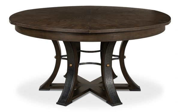 """Large Jupe Dining Table Artesian Gray Textured Iron 84""""D to 64""""D"""