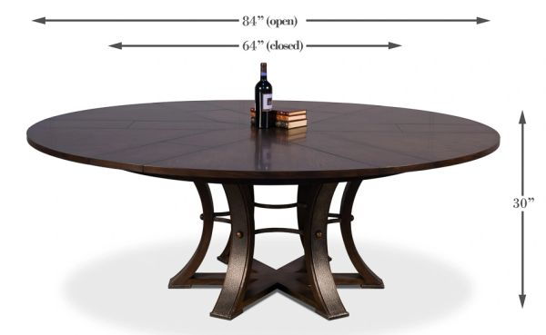 """Large Jupe Dining Table Burnt Brown Textured Iron 84""""D to 64""""D"""