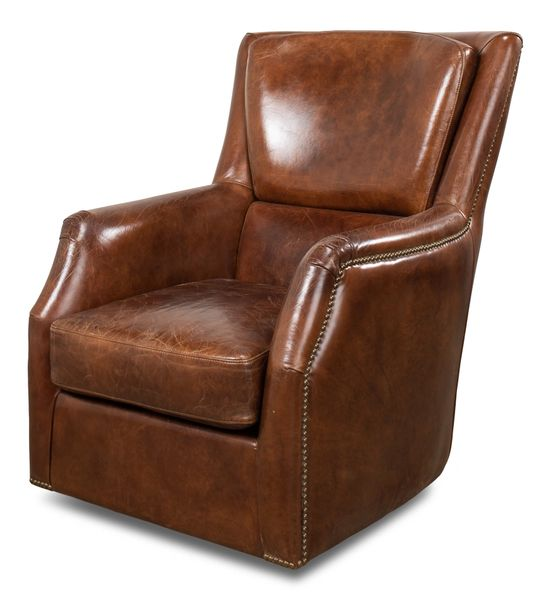 Vintage Cigar Leather Swivel Armchair