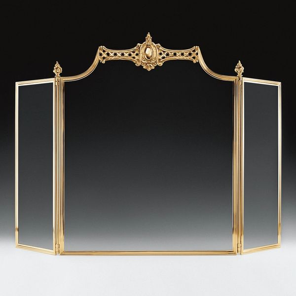 Lacquered Solid Brass Fireplace Screen Black Mesh Handmade in Italy